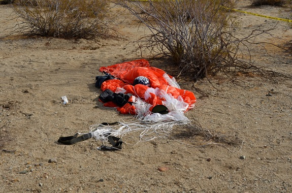 Siebold's parachute as found by Kern County Sheriff's Office personnel. (Credit: NTSB)