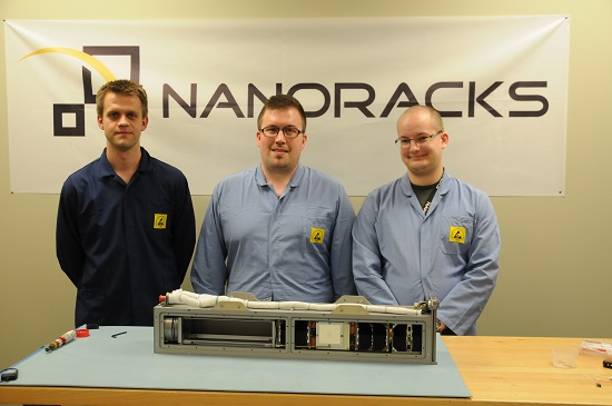 AAUSat-5 integrated in the NanoRacks CubeSat Deployer together with the GomX-3 CubeSat, also made in Denmark. (Credit: Aalborg University)