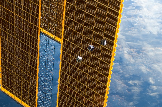 Several tiny satellites are featured in this image from the International Space Station. (Credit: NASA)