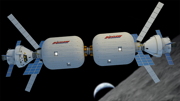 Two BA_330 modules docked in lunar orbit. (Credit: Bigelow Aerospace)