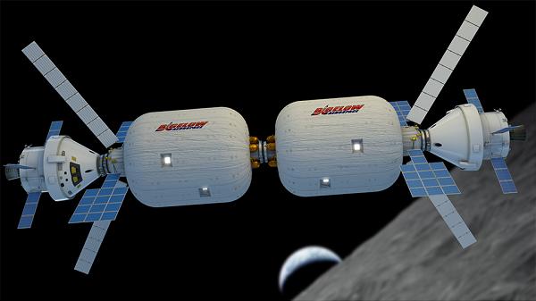 Two BA_330 modules docked in lunar orbit. (Credit: Bigelow Aerospace)