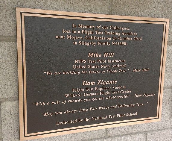 A plaque honoring Mike Hill and Ilam Zigante. (Credit: Douglas Messier)