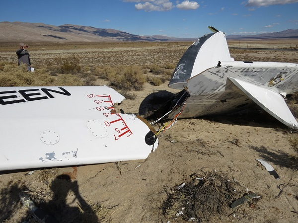 SpaceShipTwo right boom wreckage. (Credit: NTSB)