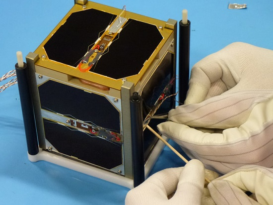 Attaching external thermocouplers to CubeSat (Credit: Rasmus G. Sæderup AAUSAT Team  -- University of Aalborg, Denmark)