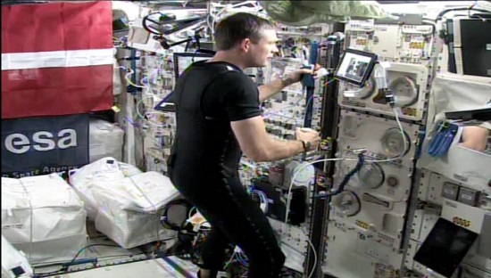 ESA astronaut Andreas Mogensen aboard the International Space Station controlling the Interact Rover at ESA's ESTEC technical centre. (Credit: ESA)