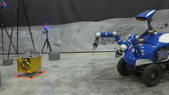 Rover approaching task board. (Credit: ESA)
