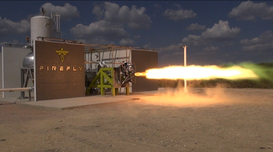 Firefly FRE-R1 engine test on Test Stand 1. (Credit: Firefly Space Systems)