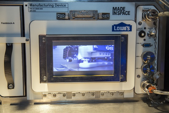 Lowe's Innovation Labs/Made in Space 3D printer in action. (Credit: Jim Sulley/Newscast Creative)