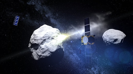 ESA's Asteroid Impact Mission is joined by two triple-unit CubeSats to observe the impact of the NASA-led Demonstration of Autonomous Rendezvous Technology (DART) probe with the secondary Didymos asteroid, planned for late 2022. (Credit: ESA - ScienceOffice.org)