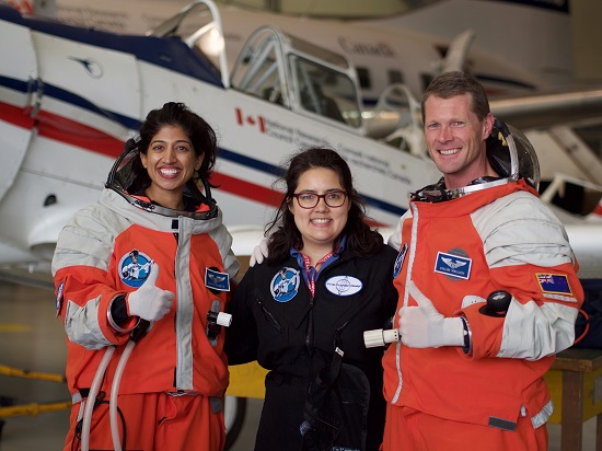 Test Team 1, Trainee Shawna Pandya (L), Test Director Kari Love (Middle), and Trainee Callum Wallach (R), after successful completion of initial round of microgravity test flights in Ottawa, October 2015. (Credit: Ross Lockwood)