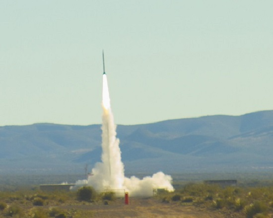 An UP Aerospace rocket launched experiments to flight test for NASA's Flight Opportunities Program from Spaceport America in New Mexico. (Credit: Spaceport America)