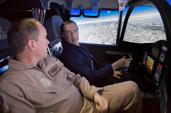 XCOR's senior test pilot Brian Binnie and senior engineer Erik Anderson performing a Lynx mission in the Simulator. (Credit: XCOR)
