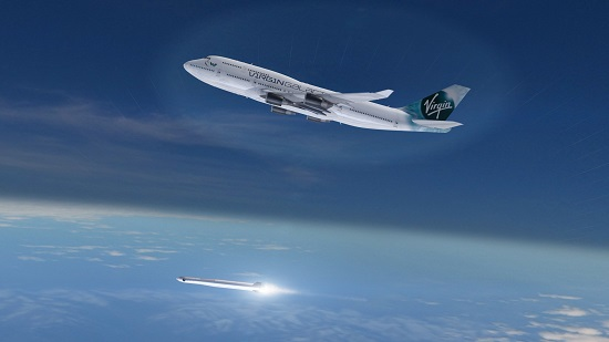 LauncherOne ignites after being released from Cosmic Girl 747. (Credit: Virgin Galactic)