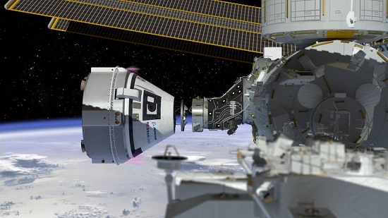 Artist's conception of CST-100 Starliner docking at the International Space Station. (Credit: NASA)