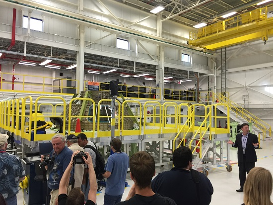 Media view CST-100 Starliner structural test article. (Credit: NASA)