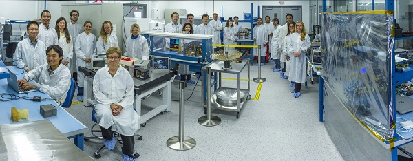 JPL's Integrated CubeSat Development Laboratory is 1,250 square feet of pristine tabletops and freshly scrubbed air dedicated to the manufacture and testing of CubeSat spacecraft. Four different CubeSat mission teams can utilize the clean room at the same time. (Credit: NASA/JPL-Caltech)