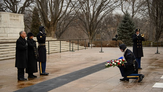 NASA Administrator Charles Bolden and his wife Alexis lay a wreath at the Tomb of the Unknowns as part of NASA's Day of Remembrance, Friday, Jan. 31, 2014, at Arlington National Cemetery.  The wreaths were laid in memory of those men and women who lost their lives in the quest for space exploration. (Credit: NASA/Bill Ingalls)