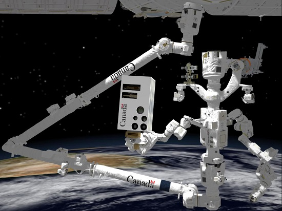 Rendering of Dextre on the end of Canadarm2, holding an advanced vision system.  (Credit: CSA/Neptec)