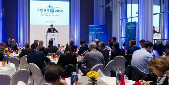 Arianespace Chairman & CEO Stéphane Israël outlines Arianespace's 2016 launch planning for reporters during the company's traditional year-opening press conference in Paris. (Credit: Arianespace)