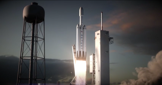 Artist's conception of a Falcon Heavy launch. (Credit: SpaceX)