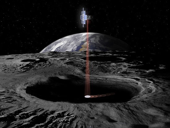 The Lunar Flashlight, flying as secondary payload on the first flight of NASA's Space Launch System, will examine the moon's surface for ice deposits and identify locations where resources may be extracted. (Credit: NASA)