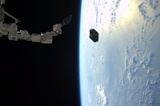 Pictured is the LONESTAR satellite just after the robotic arm in Japan's Kibo laboratory deployed it from the Space Station on the morning of January 29. (Credit ESA/NASA)
