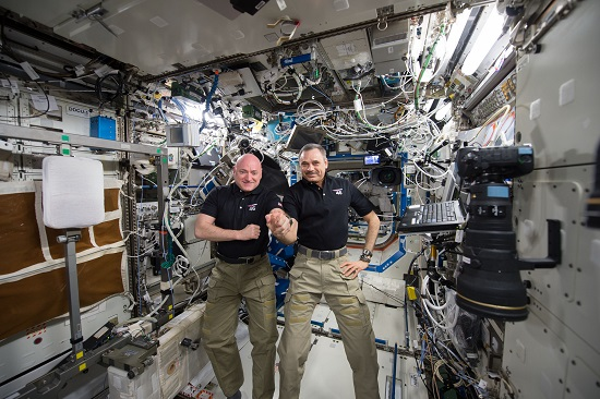 NASA astronaut Scott Kelly and Russian cosmonaut Mikhail Kornienko marked their 300th consecutive day aboard the International Space Station on Jan. 21, 2016. The pair will land March 1 after spending a total of 340 days in space. (Credits: NASA)