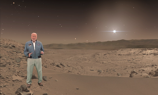 """Buzz Aldrin, an Apollo 11 astronaut who walked on the moon, makes a holographic appearance in """"Destination: Mars,"""" a mixed-reality tour of a part of Mars that NASA's Curiosity rover has explored. (Credits: NASA/JPL-Caltech/Microsoft)"""