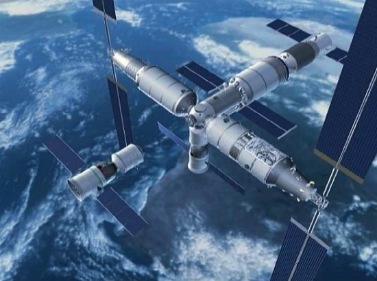 Artist's conception of China's Tianhe-1 space station. (Credit: China Manned Space Engineering)