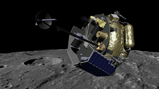 Moon Express MX-1 spacecraft orbits the Moon in preparation for landing. MX-1 will deliver commercial, academic and government instruments to explore the Moon for science and resources. (Credit: Moon Express)