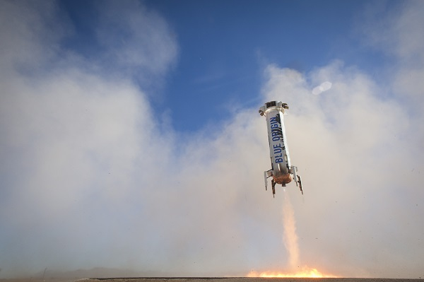 BE-3 restarted at 3,635 feet above ground level and ramped fast for a successful landing. (Credit: Blue Origin)
