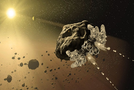 Artists depiction of an asteroid being reconstituted into a mechanical automata. (Credit: Made in Space)