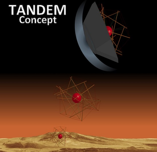 Artist's rendering of the TANDEM concept showing a deployable heat shield and tensegrity structure for high risk landing zones for extreme environmental missions.