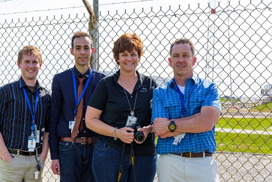 The team from Eli Lilly and Company and CASIS, Kevin Tyre, Kristofer Gonzalez-DeWhitt, April Spinale and Michael Hickey, at launch site of their investigation. (Credits: Eli Lilly and Company)