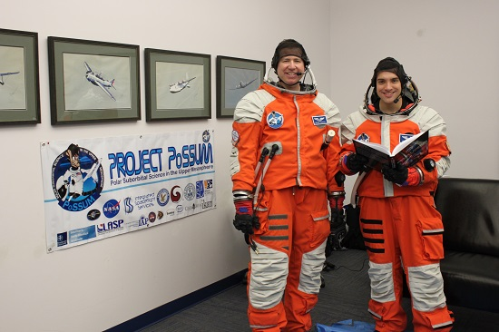 PoSSUM Candidates Michael Parkhill and Dustin Wallace demonstrate Project PoSSUM's combination of theoretical preparation and practical simulation. (Credit: Final Frontier Design)