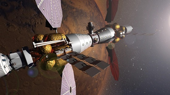Humanity Becomes an Interplanetary Species: Artist's rendition of the Mars Base Camp architecture in Martian orbit. By leveraging developed technologies and the taxpayers' investment in SLS and Orion, Lockheed Martin believes a human science Mission to Mars is feasible by 2028. (Credit: Lockheed Martin)