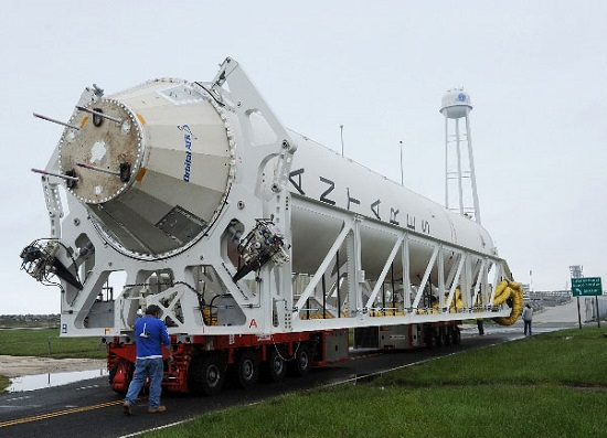 Antares rolled out for hot fire in May 2016. (Credit: Orbital ATK)