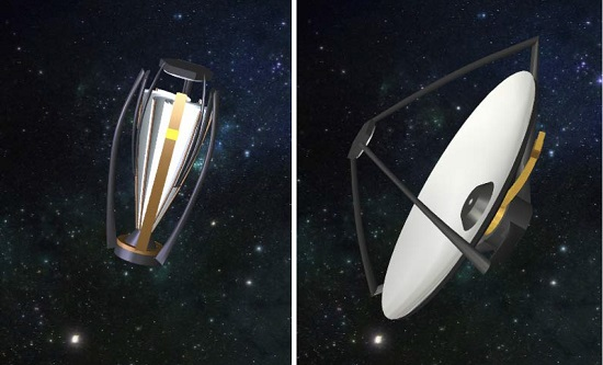 General APERTURE concept, before and after deployment (write head moves along the curved arm, while the curved arm rotates about the center axis). (Credit: M. Ulmer)