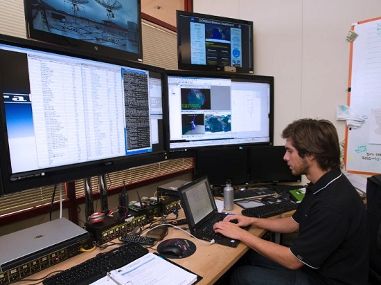 Students support the Santa Clara University ground station during the Nodes mission. (Credit: Santa Clara University)
