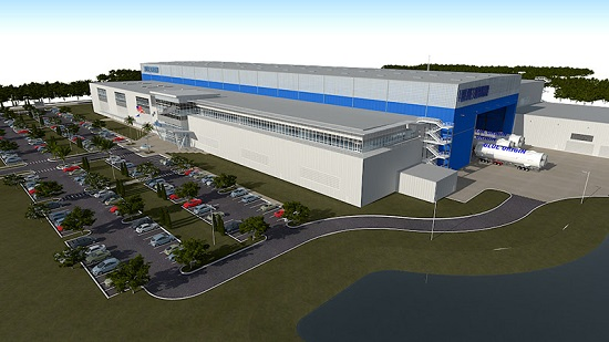 Artist concept of Blue Origin rocket factory in Florida. (Credit: Blue Origin)