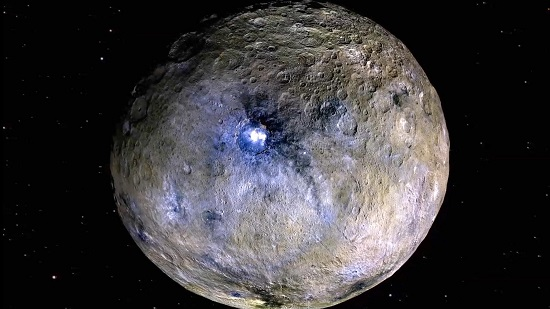 This false-color rendering highlights differences in surface materials at Ceres, one of the targets of the Dawn mission. (Credit: NASA/JPL-Caltech/UCAL/MPS/DLR/IDA)