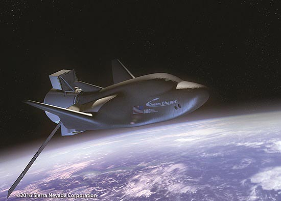 Dream Chaser spacecraft in orbit. (Credit: Sierra Nevada Corporation)