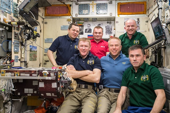 ESA (European Space Agency) astronaut Timothy Peake, NASA astronaut Timothy Kopra and Roscosmos cosmonaut Yuri Malenchenko (front) are set to depart the International Space Station and return to Earth June 18, 2016. Russian cosmonauts Oleg Skripochka and Alexey Ovchinin and NASA astronaut Jeff Williams (back) will be joined in July by NASA astronaut Kate Rubins, Russian cosmonaut Anatoly Ivanishin and Takuya Onishi of the Japan Aerospace Exploration Agency. (Credit: NASA)