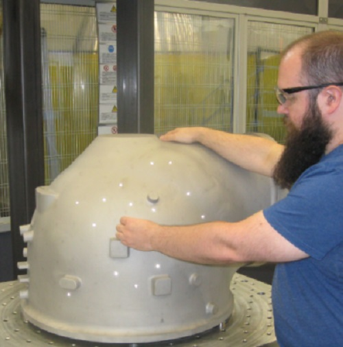 Preparing inspected GOx dome casting for machining (Credit: Blue Origin)