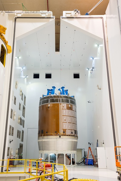 A test version of the Orion service module as been undergoing acoustic and vibration testing at NASA Glenn's Plum Brook Station in Sandusky, Ohio. z(Credits: NASA)