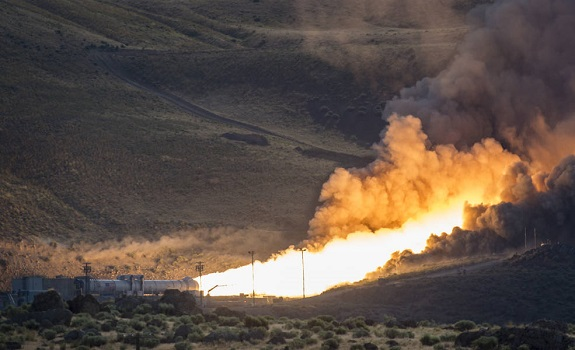 The second and final qualification motor (QM-2) test for the Space Launch System's booster is seen, Tuesday, June 28, 2016, at Orbital ATK Propulsion Systems test facilities in Promontory, Utah. (Credit: NASA/Bill Ingalls)