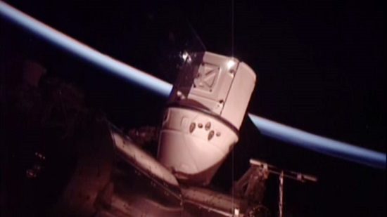 Dragon berthed at the International Space Station. (Credit: NASA TV)