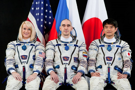 International Space Station Expedition 48/49 astronaut Kate Rubins of NASA, Russian cosmonaut Anatoly Ivanishin and Japan Aerospace Exploration Agency (JAXA) astronaut Takuya Onishi. (Credits: NASA)