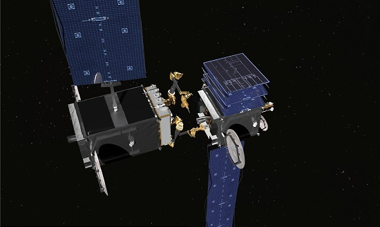 DARPA RSGS Robotic Servicing Vehicle utilizing MDA US Systems robotic arms to repair a satellite on orbit. (Source: DARPA)