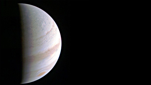 Jupiter's north polar region is coming into view as NASA's Juno spacecraft approaches the giant planet. This view of Jupiter was taken on August 27, when Juno was 437,000 miles (703,000 kilometers) away. (Credit: NASA/JPL-Caltech/SwRI/MSSS)